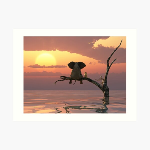 elephant and dog are sitting on a tree fleeing a flood Art Print