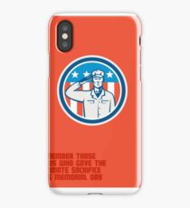 Memorial Day Greeting Card American Soldier Salute Circle iPhone Case