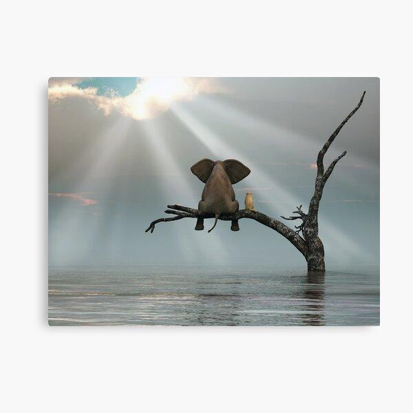 éléphant et un chien sont assis sur un arbre Impression sur toile