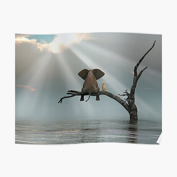 elephant and a dog are sitting on a tree Poster