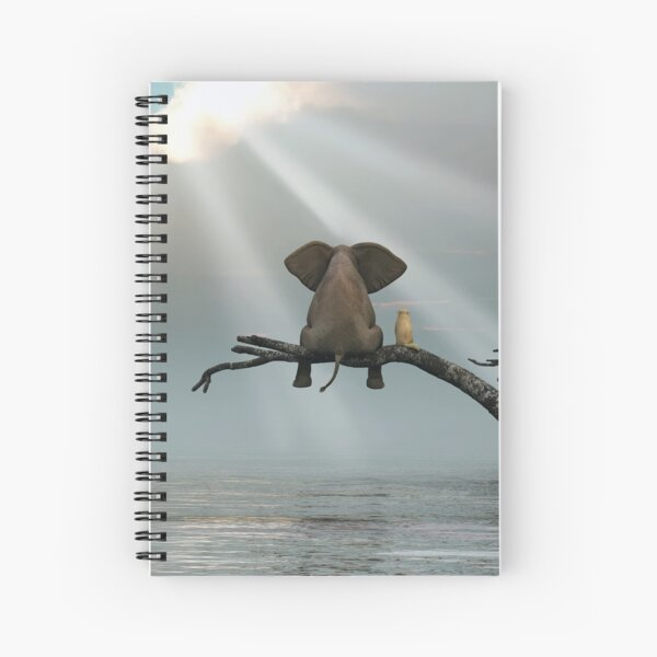 elephant and a dog are sitting on a tree Spiral Notebook
