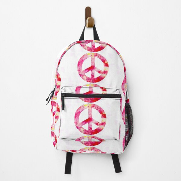 Pink Peace Symbol Backpack