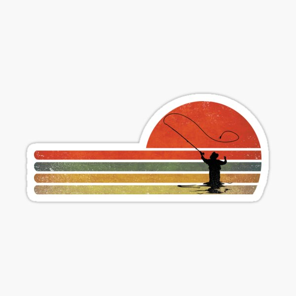 retro vintage fly fishing,gift for fly fishing lovers Sticker