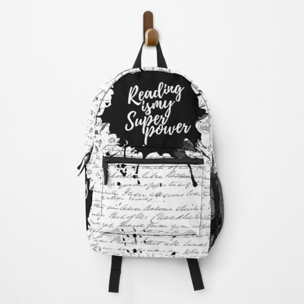 Reading is my Superpower Ink Splatter Lettering Quote Art (White) Backpack