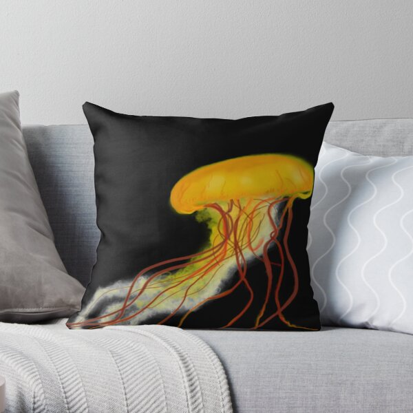 Yellow Jellyfish Throw Pillow