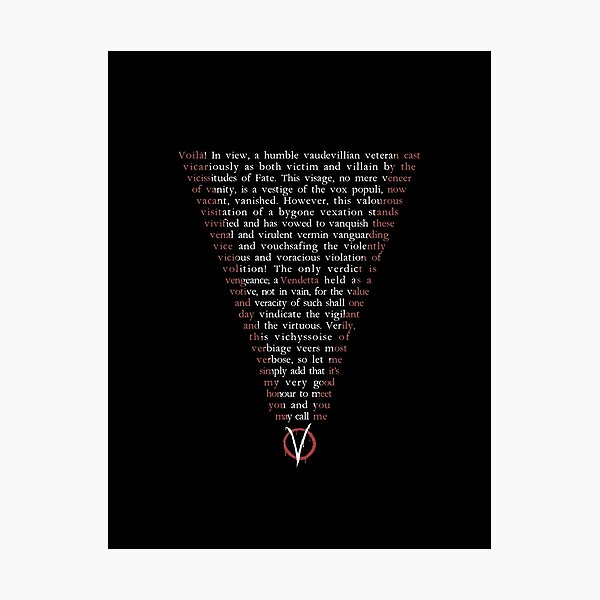 V for Vendetta - Who are you? Photographic Print