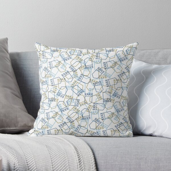 Royals Shield Pattern, White Background Throw Pillow