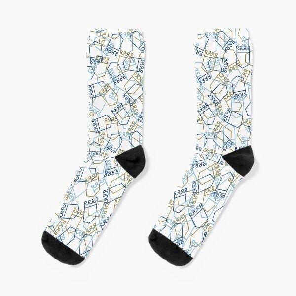 Royals Shield Pattern, White Background Socks