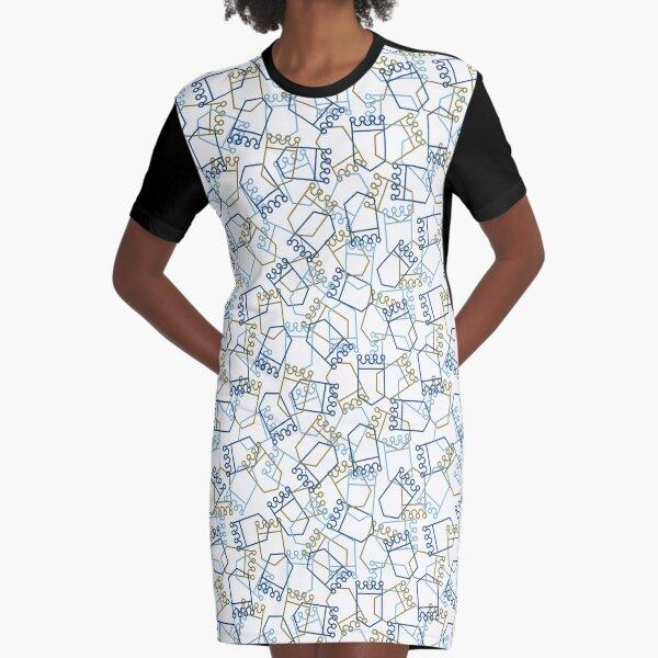 Royals Shield Pattern, White Background Graphic T-Shirt Dress