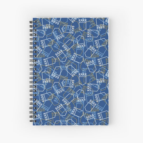 Royals Shield Pattern, Royal Blue Background Spiral Notebook