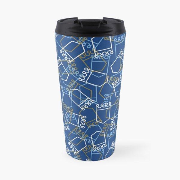 Royals Shield Pattern, Royal Blue Background Travel Mug