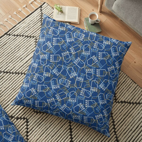 Royals Shield Pattern, Royal Blue Background Floor Pillow