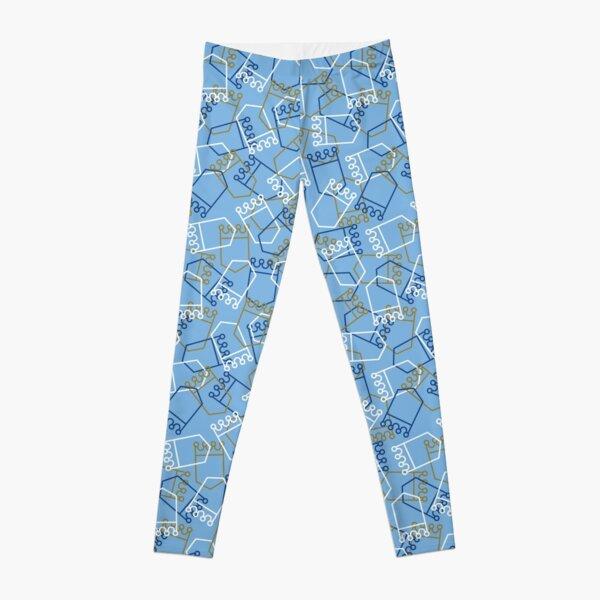 Royals Shield Pattern, Light Blue Background Leggings