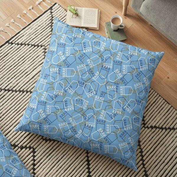 Royals Shield Pattern, Light Blue Background Floor Pillow