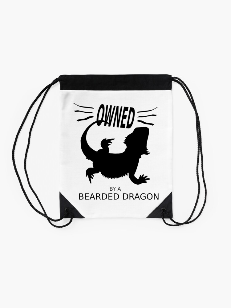 Alternate view of Owned By A Bearded Dragon Drawstring Bag
