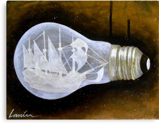 """Ship in a Lightbulb"" by BryanLanier"