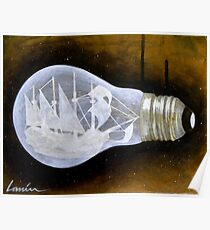 """Ship in a Lightbulb"" Poster"