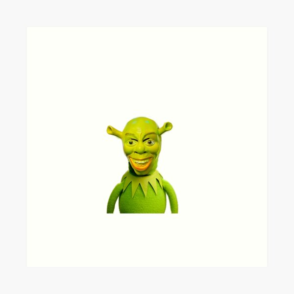 Kermit X Cursed Shrek Art Print By Wendigoo Redbubble