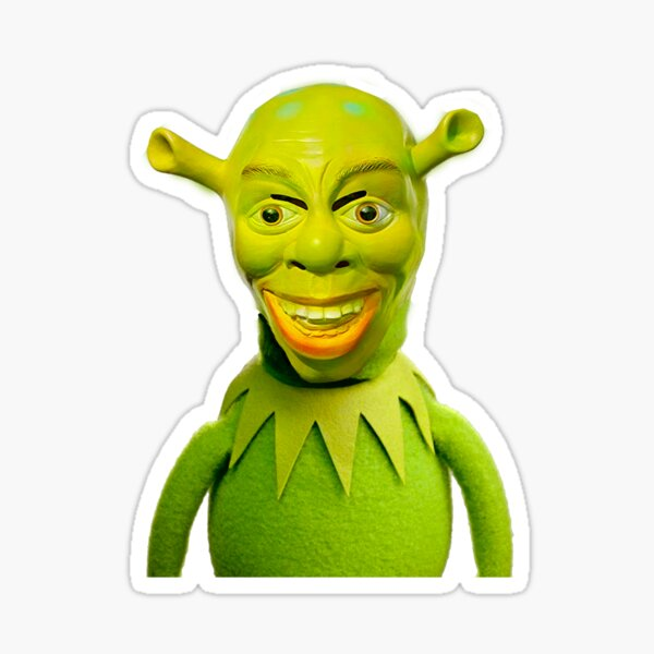 Kermit X Cursed Shrek Sticker By Wendigoo Redbubble