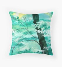 White N Green Throw Pillow