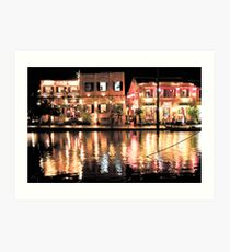 Hoi An, Vietnam, river and restaurants in soft tones Art Print