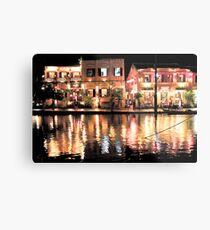 Hoi An, Vietnam, river and restaurants in soft tones Metal Print