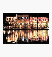 Hoi An, Vietnam, river and restaurants in soft tones Photographic Print
