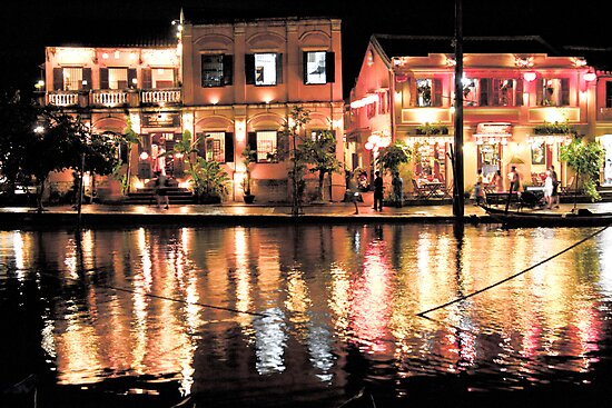Hoi An, Vietnam, river and restaurants in soft tones by kmatm