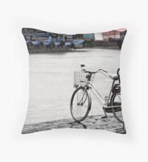 Hoi An bicycle in rain Throw Pillow