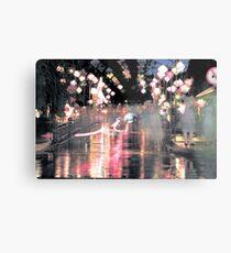 Hoi An lanterns and reflections on bridge Metal Print