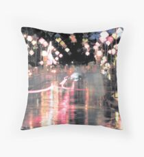 Hoi An lanterns and reflections on bridge Throw Pillow