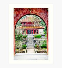 Temple through archway in Hue Art Print