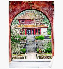 Temple through archway in Hue Poster
