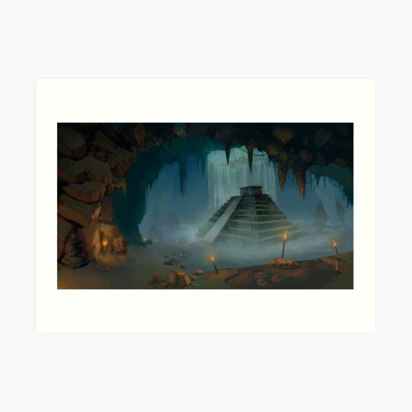 Mayan Temple Cavern Art Print