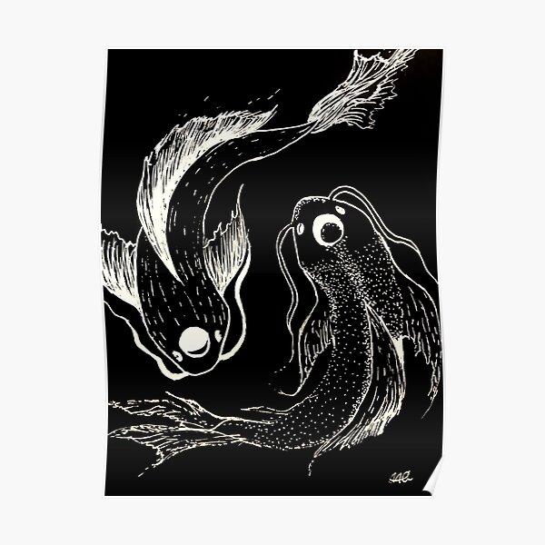 yin and yang koi fish Poster