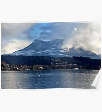 Lake of the Four Forested Cantons and Mountain Pilatus at Lucerne Poster