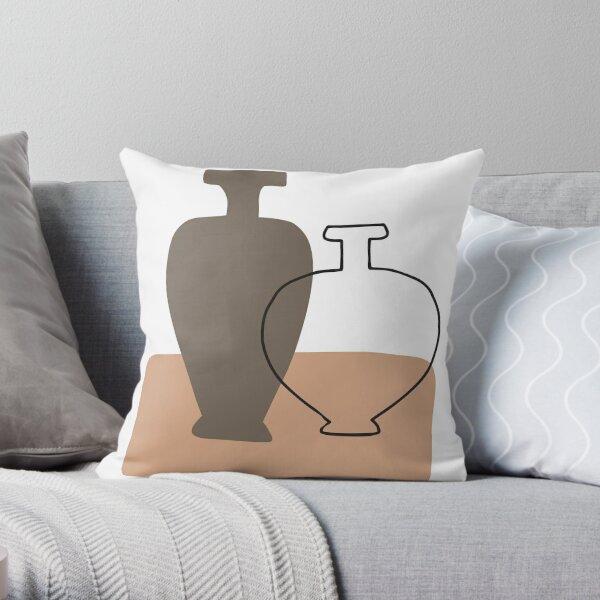Minimal Abstract Jars Line Art Throw Pillow