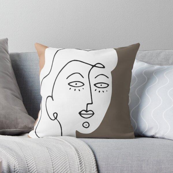 Minimal Abstract Woman Portrait Line Art Throw Pillow
