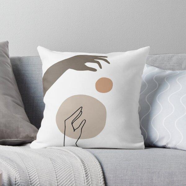 Minimal Abstract Hands Line Art Throw Pillow