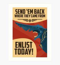 Knifehead Kaiju Propaganda Poster (Pacific Rim) Art Print