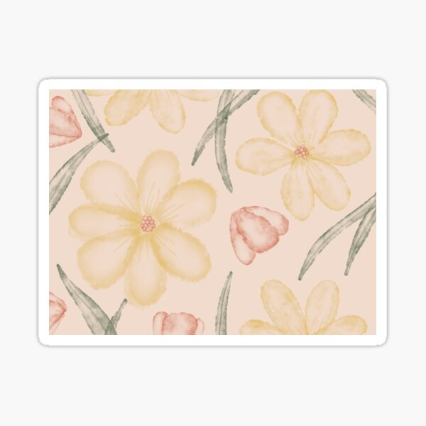 Yellow Watercolor Florals Sticker