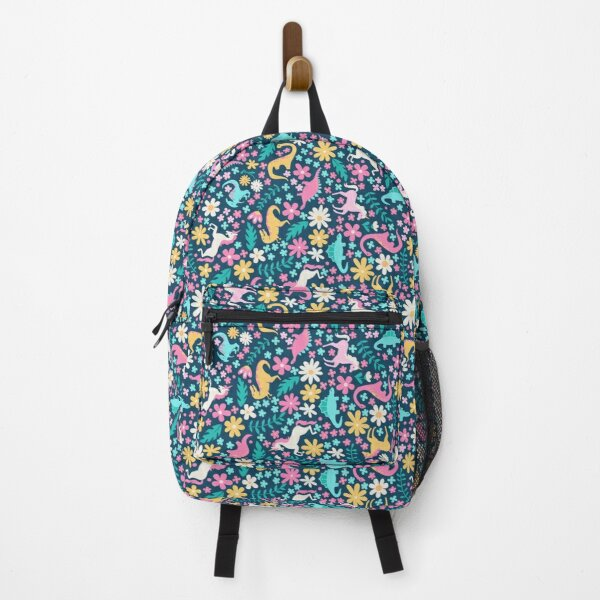 Floral Burst of Dinosaurs and Unicorns in Neon Backpack