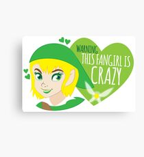 WARNING this fangirl is CRAZY! (with girly Link and fairy) Canvas Print