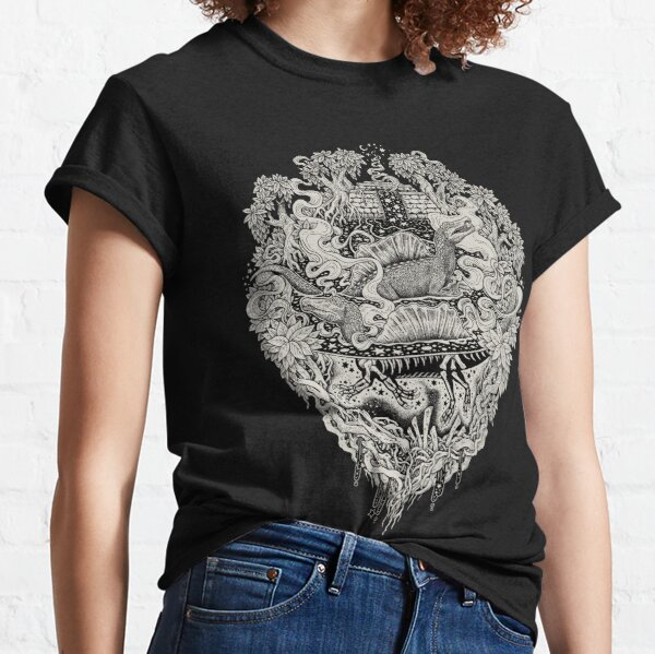 Sunken Temple of the Spinosaurus || Monochrome || Dinosaur Science Fiction Art Classic T-Shirt