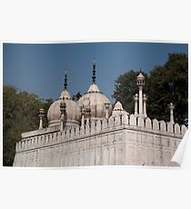 Minarets and structure of Pearl Mosque inside Red Fort Poster