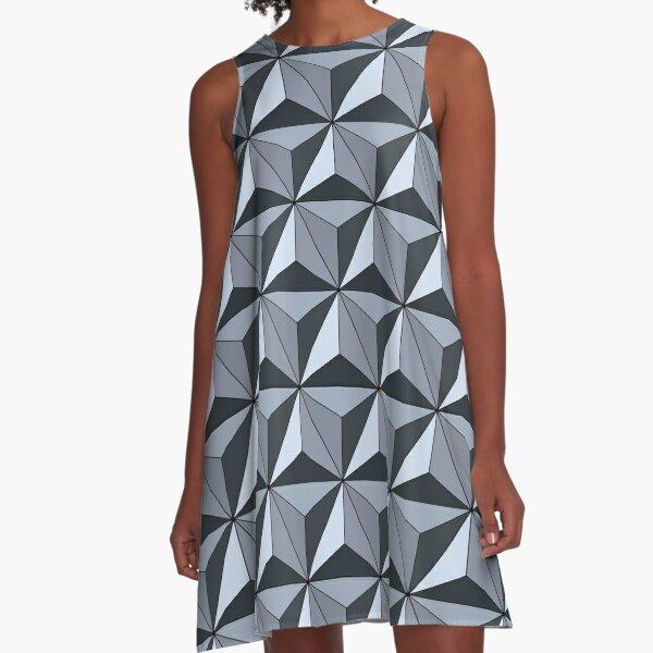 Spaceship Earth - Silver A-Line Dress