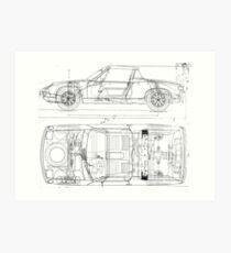 Car blueprint wall art redbubble porsche 914 car automobile blueprint poster print and card art print malvernweather Gallery