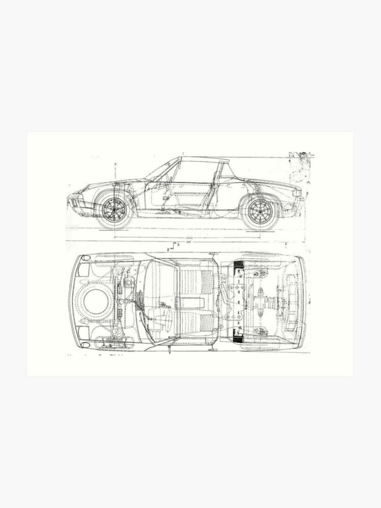 Porsche 914 Car Automobile Blueprint Poster Print And Card | Art Print