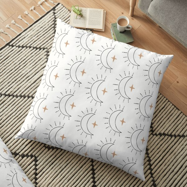 Moon and Star Pattern  Minimal Abstract Floor Pillow