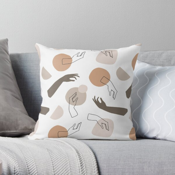 Hands Pattern Minimal Abstract Throw Pillow